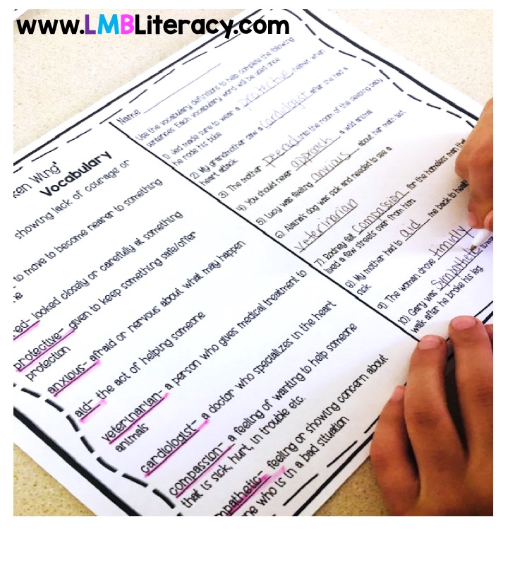 Student using vocabulary in context definitions to fill in blanks.
