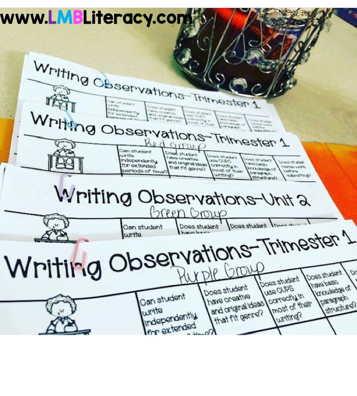 This picture shows conferencing observation sheets to help when teaching writing.