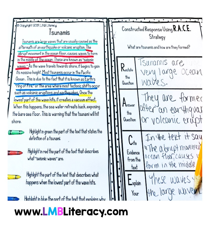 This R.A.C.E strategy worksheet shows an example of color coding by citing evidence as well as an example of the R.A.C.E writing strategy.