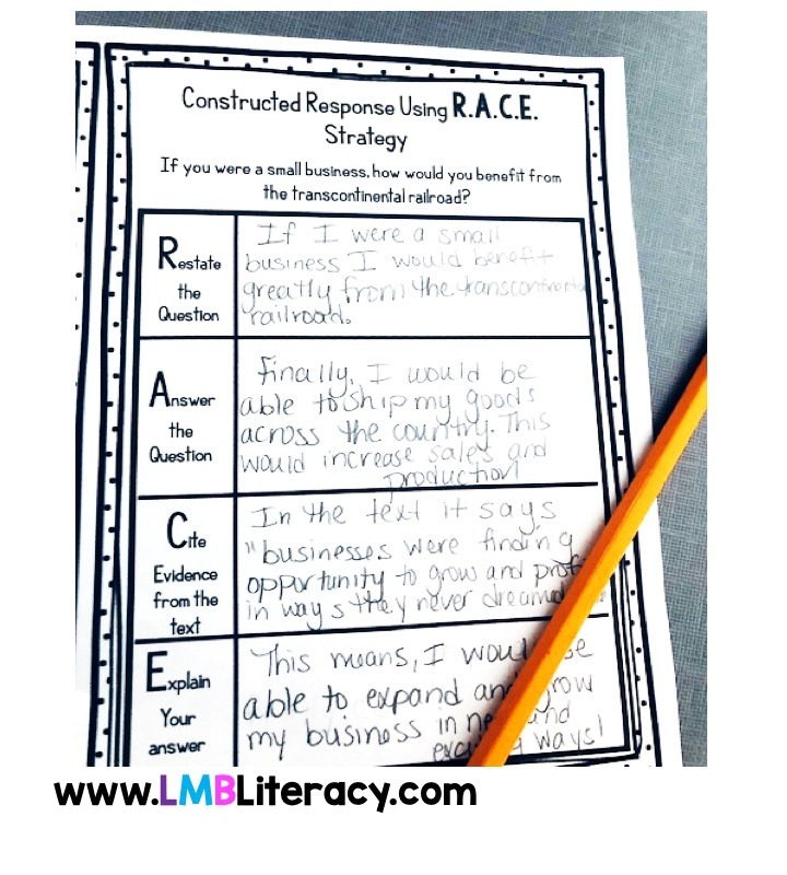 This R.A.C.E writing strategy worksheet shows the definition of the acronym as well as an example for each letter.