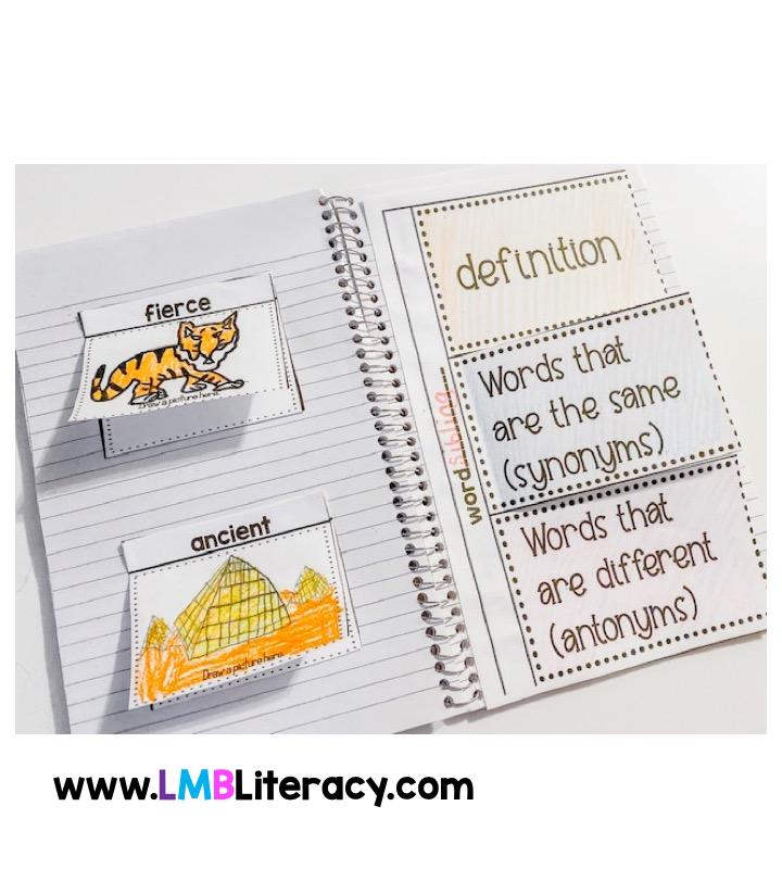 This shows an interactive notebook for grades 1-3