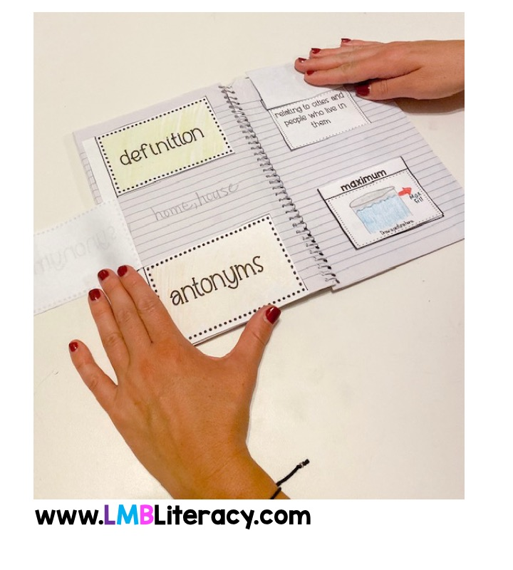 This shows an interactive notebook in action for grades 4-6