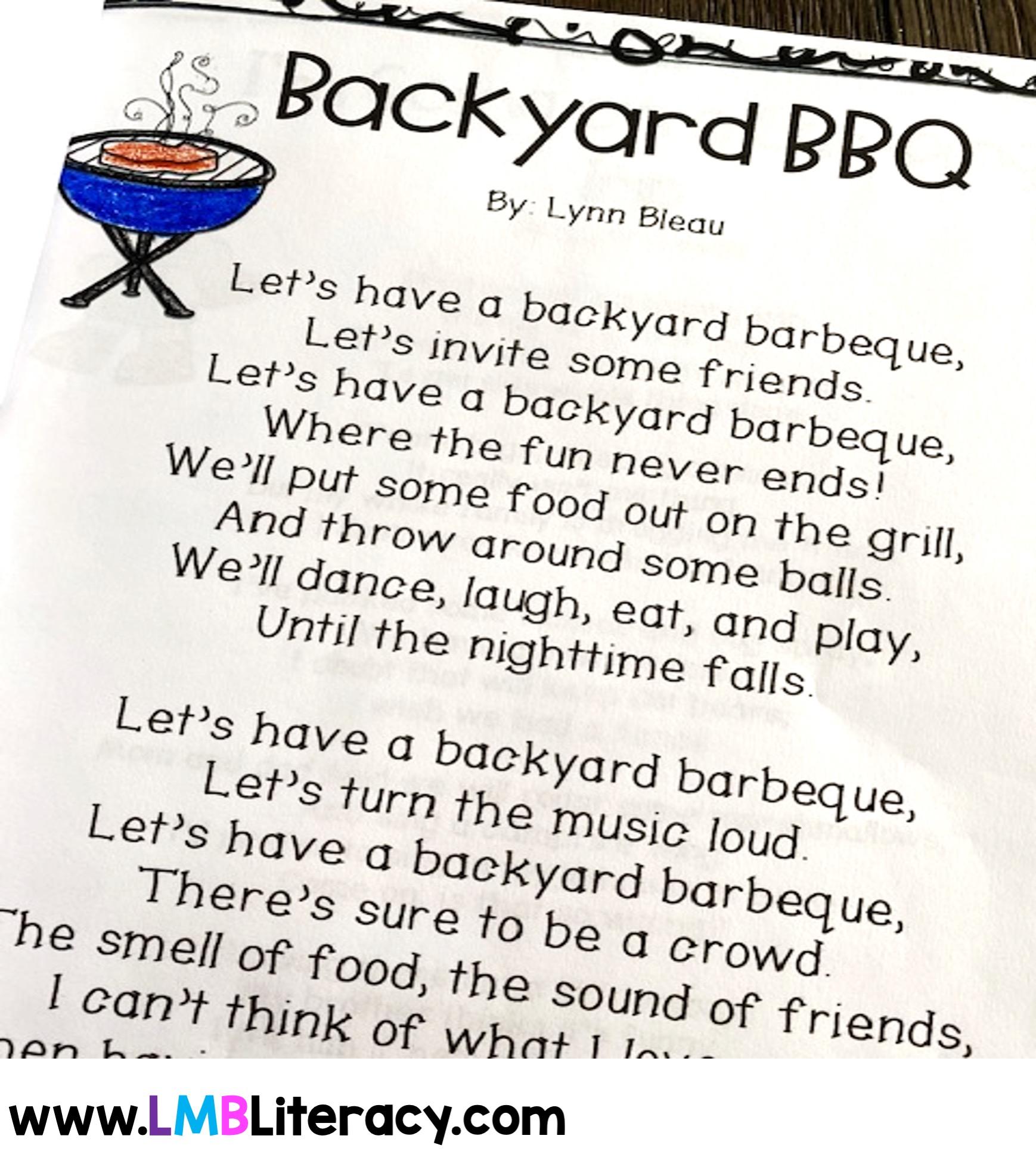Backyard bbq example poem